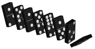 Domino - Vector. Vector - Domino Effect - Standing Black Tiles  On White Background Stock Photo