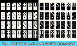 Domino White and black Color Set . Full Classic Game Dominoes bones Isolated On White. Modern Collection Vector Royalty Free Stock Photo