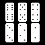 Domino white. six pieces on a black background stock illustration