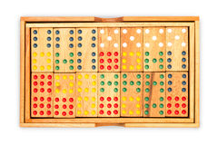 Domino in wood box Royalty Free Stock Photo