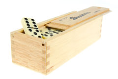 Domino in wooden box Royalty Free Stock Image