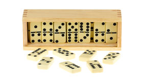 Domino in wooden box Royalty Free Stock Photo