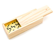 Domino in wooden box Stock Photography