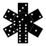 Domino zwarte vastgestelde vectorillustratie Royalty-vrije Stock Afbeelding