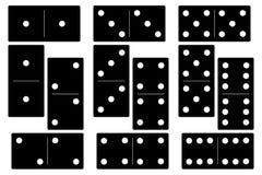 Domino zwarte vastgestelde vectorillustratie op witte achtergrond Stock Foto
