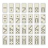 Dominobricka benar ur den färdiga uppsättningen på vit bakgrund vektor Royaltyfri Bild