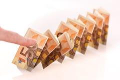 dominobricka för 50 eurosedlar Royaltyfri Fotografi