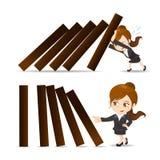 Dominobricka för push för affärskvinna vektor illustrationer
