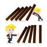 Dominobricka för push för affärsman stock illustrationer