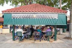 Dominobricka parkerar lilla Havana Miami Arkivbilder