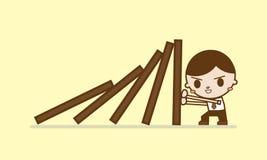 Dominoeffekt- und -lösen von Problemen Stockbild