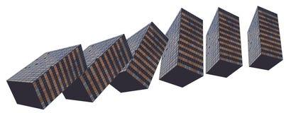 Dominoeffektgebäude gebildet aus Gebäuden heraus Stockfotografie