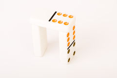 Dominoes. Three domino pieces on isolated white background royalty free stock photography
