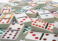 Dominoes. Scattered on a white background Royalty Free Stock Photography