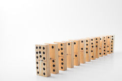 Dominoes. A line of handmade old timey style dominoes Stock Images