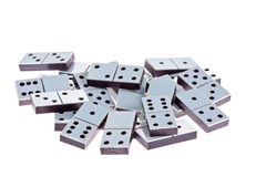 Dominoes. White dominoes lying flat on a white background Royalty Free Stock Image