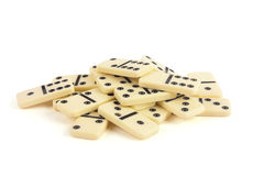 Dominoes. With black points isolated on white background royalty free stock photography