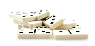 Dominoes. Pile on white background royalty free stock photos