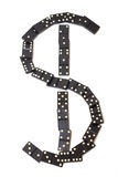Dominoes. Fallen dominoes in the form of dollar sign Royalty Free Stock Images