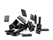 Dominoes. Falling game dominoes on white background Royalty Free Stock Photography