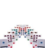 Dominoes. Row of dominoes isolated on white Royalty Free Stock Photo