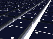 Dominoes. Dark dominoes layed flat on a reflective floor Royalty Free Stock Photography