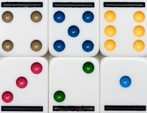 Dominoes. Set of six ends of dominoes, with different colors Royalty Free Stock Image