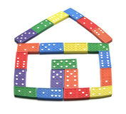 Dominoes Arranged in House Shape Stock Photos