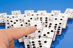 Dominoes on Blue. royalty free stock photos