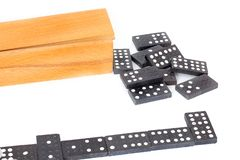 Dominoes. Board game with knuckles.  royalty free stock image