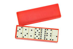 Dominoes in a box. Isolated Royalty Free Stock Photography
