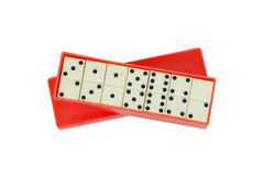 Dominoes in a box. Isolated Royalty Free Stock Photos