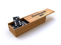 Dominoes in a box Royalty Free Stock Photos