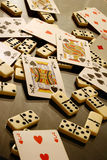 Dominoes and Cards. On a glass table Stock Images