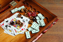 Dominoes cards and dice Royalty Free Stock Images