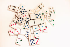 Dominoes with colored dots Royalty Free Stock Photo