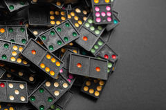 Dominoes with colorful dot game pieces Royalty Free Stock Photography