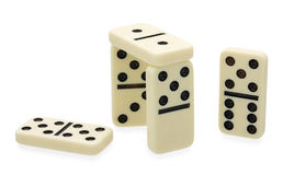 Dominoes construction on white background Stock Images