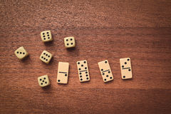 Dominoes and dice Royalty Free Stock Images