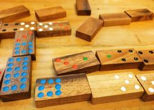 Dominoes. Domino Game sequencing on table Royalty Free Stock Photo