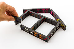Dominoes in House Shape. Stock Photo