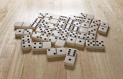 Dominoes Layer On Table Stock Photos