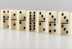 Dominoes line up Royalty Free Stock Photography