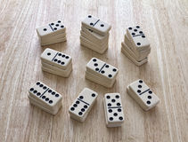 Dominoes Stacked In Piles Royalty Free Stock Images