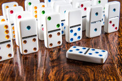 Dominoes Standing up on Wood Background with double 5 five Royalty Free Stock Photography
