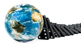 Dominoes tiles falling on to the Earth Globe, 3D rendering stock photography