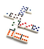 Dominos. Colorful dominos laying down on a white background Royalty Free Stock Images