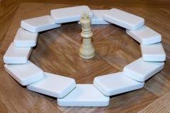 Dominos, die König in der Mitte einzäunen Lizenzfreie Stockbilder