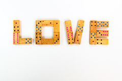 Dominos en bois d'isolement photos stock
