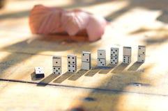 Dominos en bois réglés Photographie stock libre de droits